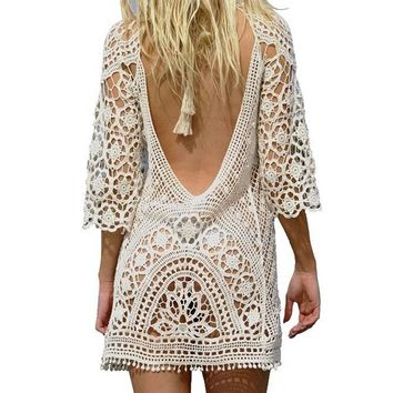 Sexy Black Backless Tunics Beach dress Crochet knitted female Swimwear cover-up beach Cover Ups beach wear Beachwear Women K367