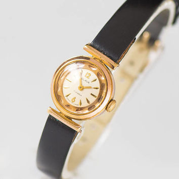 Classy women watch Glory, gold plated lady watch tiny, American pop art inspired watch, cocktail watch small rare new premium leather strap