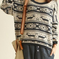 Leisure Fawn Pattern Sweater Navy Blue $46.00
