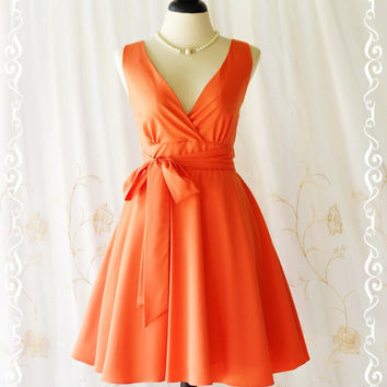My Lady II Spring Summer Sundress Vintage Design Tangerine Party Dress Orange Bridesmaid Dress Garden Party Sundress Orange Dresses XS-XL