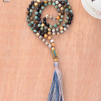 Women Necklace Mixed 6MM Natural Stone Long Tassel Necklace Classic Nepal Bead Long Necklace Bohemian Womens Necklaces Jewelry