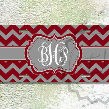 Monogrammed License Plate - Burgundy and Gray chevron, personalized car tag, front license plate - 284
