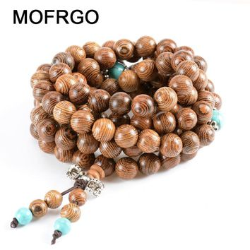 MOFRGO 8mm Wood Mala Buddha Beads Bracelet Men Natural Wooden Chakra With Stone Chinese Style Meditation Bracelets For Women