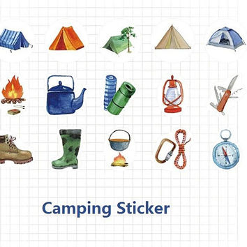 45 campling sticker tents swags torch hiking rope Camping accessories Camping lights compass camping gear camping equipment themed sticker