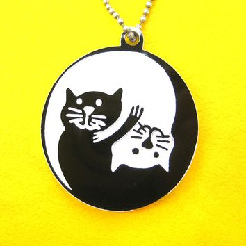 Kitty Cat Shaped Yin Yang Animal Themed Pendant Necklace in Black Acrylic