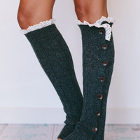 Smoke Gray Lacy Knitted Button Down Leg Warmers Boot Cuffs with Crochet Trim
