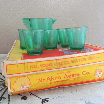 Akro Agate Co. No. 1030 Green Water Set Play Time Glass Dishes Green Akro Tea Set Childrens Tea Set Childrens Dishes Childs Tea