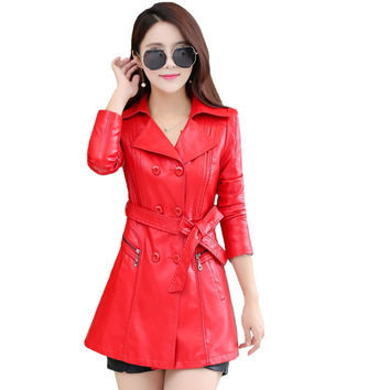 Double Breasted Women Pu Leather Long Jacket 2016 Plus Size 4XL Fashion Outwear Turn-down Collar Long Sleeve Slim Jacket Coat