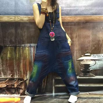 Free Shipping 2017 New Arrival Personalized Loose Bib Pants With Hole Print Denim Jumpsuit Long Trousers Harem Pants Casual Pant