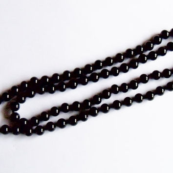 Vintage Black Glass Bead Necklace by Monet Wedding Jewelry Jewellry Gift for Her