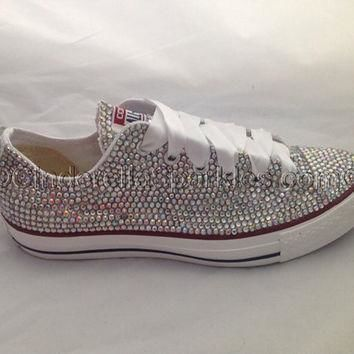Diamante Crystal Covered Converse Wedding Prom Shoes Trainers Custom Made with sequin