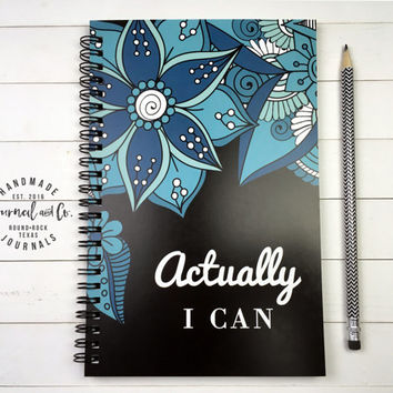 Writing journal, spiral notebook, sketchbook, bullet journal, black blue floral, blank lined grid, motivational quote - Actually I can