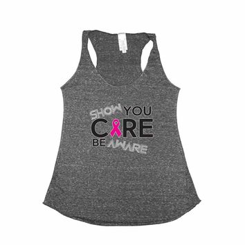 Women's Show You Care Be Aware Breast Cancer Awareness Trie Blend Tank CHARCOAL