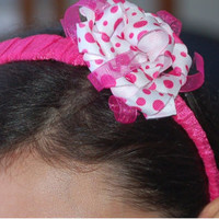 Pink Hard Headband with White and Pink Polka Dot Bow with Sheer pink Ribbon