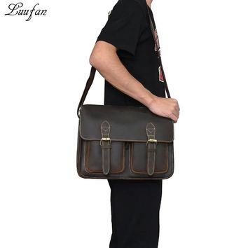 Vintage Genuine Cow Leather Men shoulder bags Crazy Horse leather laptop messenger bag cowhide business briefcase man Bag