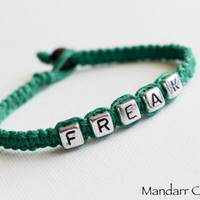 CLEARANCE SALE - Freak Bracelet in Dark Green, Hand Knotted Quirky Hemp Jewelry, Best Friends Gift, Unisex Jewelry, Ready to Ship