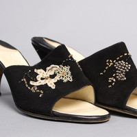 50s Black Suede HEELS / Lace FLORAL, Beaded & Sequined Mules, 5.5