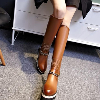 Women Winter Genuine Leather Wedges Chunky Heel Chains Rivets Round Toe Side Zip Fashion Knee High Boots Plus Size 34-43 SXQ1006