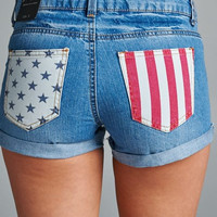 American Flag Pocket Denim Shorts