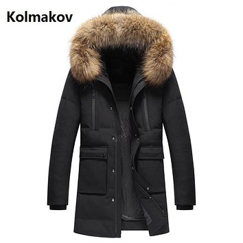2017 new winter Men's casual 90% white duck down down coats jackets Men's thicken down cotton-padded jacket trench coat men