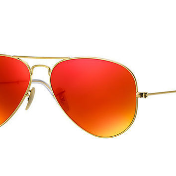 Ray Ban Aviator Sunglass Gold Orange Polarized Mirrored RB 3025 112/4D