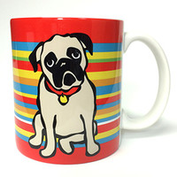 Marc Tetro Store - Welcome: Pug on Stripes Mug