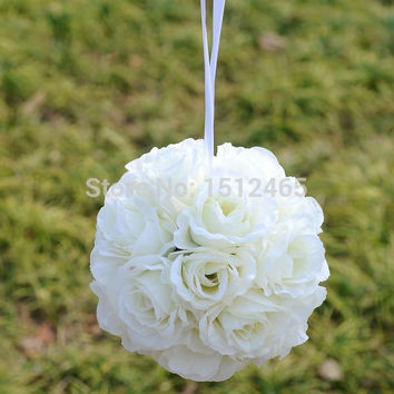 Free shipping, 20cm/8'' Lowest Price Ivory Silk Rose Kissing Ball Flower Pomander Bouquet Flower Ball Wedding Party Favors HQ12