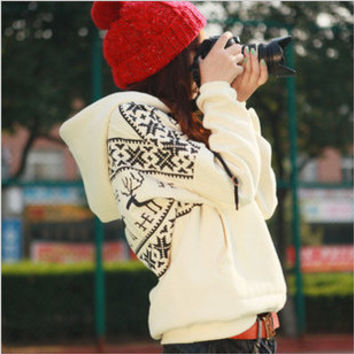 Winter Warm Thick Reindeer Pattern Hoody Red Black White
