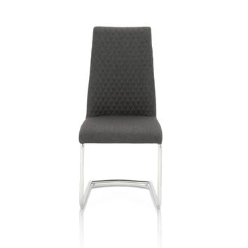 Eva Dining Chair (Set of 2) Storm Grey Fabric, Chrome Legs | Linen