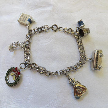 Sterling Charm Bracelet, 7 Vintage Charms, Custom Bracelet, Unique Charms, 1960s