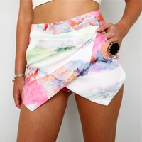 PASTEL PINK SNOWY MOUNTAIN PRINTS DOUBLE POINTY WRAP SKORT SHORTS 6 8 10 12