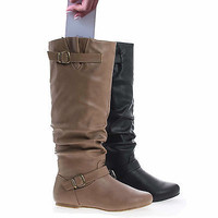 Kalisa106P Slouchy Ruffled Shaft Inner Cell Phone Pouch Mid Calf Boots