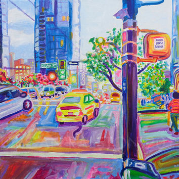 Limited Edition Giclee Canvas Print 8x10 - Wall Centre From Nelson And Burrard - Colorful City Buildings art