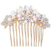 EVER FAITH Rose Gold-Tone Austrian Crystal Simulated Pearl Bridal Lots Leaves Flowers Hair Comb Clear