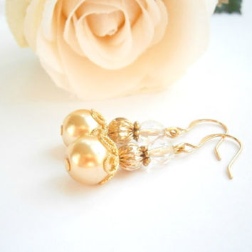 Gold Beaded Earrings - Elegant Dangle Pearl Earring - Czech Glass Jewelry - Dainty Jewellery - Nickel Free - Gold Pearl Earings