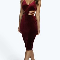 Boutique Eve Velvet Midi Bodycon Dress
