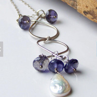 Pearl and Iolite Necklace, Artisan Necklace, Wire Wrapped Necklace, Sterling Silver Chain, Drop Necklace, Unique Necklace, Etsy