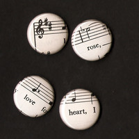 Sheet Music Magnets / Pinback Music Buttons / Music Wedding / Music Gift Bag / Music Teacher Gift