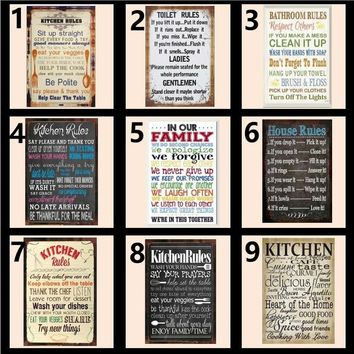 Bathroom Kitchen House Family Toilet  Rules Wall Metal Tin Sign Home Wall Sign Decor Home Bar Decor Shabby Chic Sign Plaque Vint