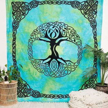 Celtic Tree of Life Tie-Dye Tapestry