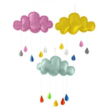 Handmade Hanging Plush Rain Cloud Wall Accent & Play Tent Accessory