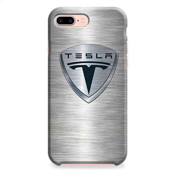 Tesla Motors Brushed Metal Logo iPhone 8 | iPhone 8 Plus Case