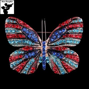 Big Large Rhinestone Fashion Butterfly Brooch for Women 2017 Pins and Brooches Crystal Lapel Pin Party Emaille DIY Jewelry Gift
