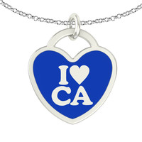 I Love California Sterling Silver Heart Necklace