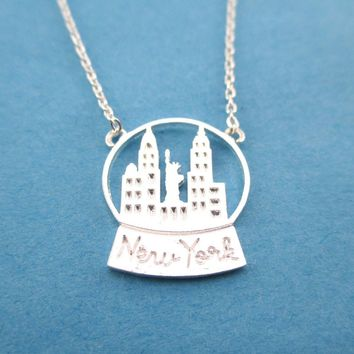 New York Skyline Snow Globe Pendant Necklace in Silver | DOTOLY