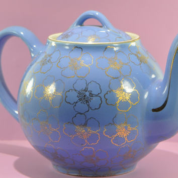 Hall Teapot Gold Flowers on Blue