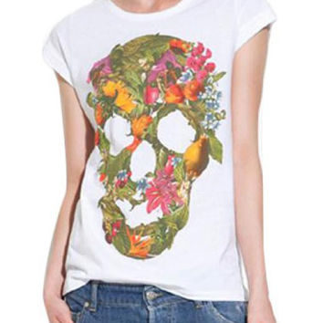 Skull Head Print Short Sleeve T Shirt