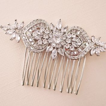Bridal Hair Comb for Veil of CZ Flower and Heart