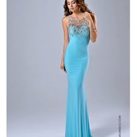 Nina Canacci 8038 Fitted Aqua Blue Embellished Gown 2015 Prom Dresses