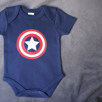 Organic Baby Avengers Captain America Inspired Unisex Baby Clothes Baby Onesuit